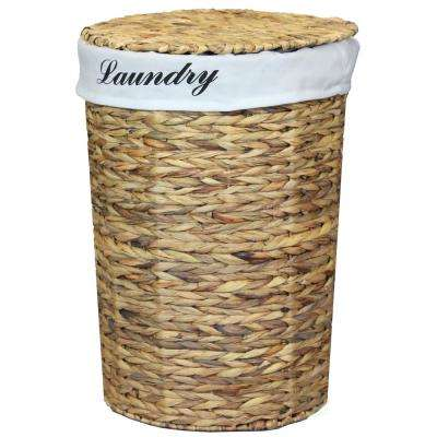 15 in. x 21 in. Natural Water Hyacinth Round Laundry Hamper with Removable Linen Liner and Lid