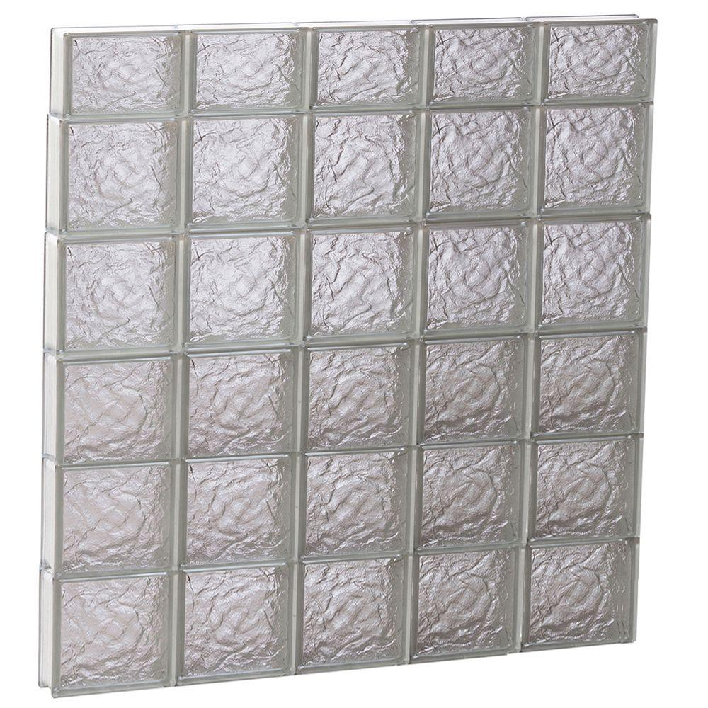Clearly Secure 38.75 in. x 44.5 in. x 3.125 in. Frameless Ice Pattern Non-Vented Glass Block Window
