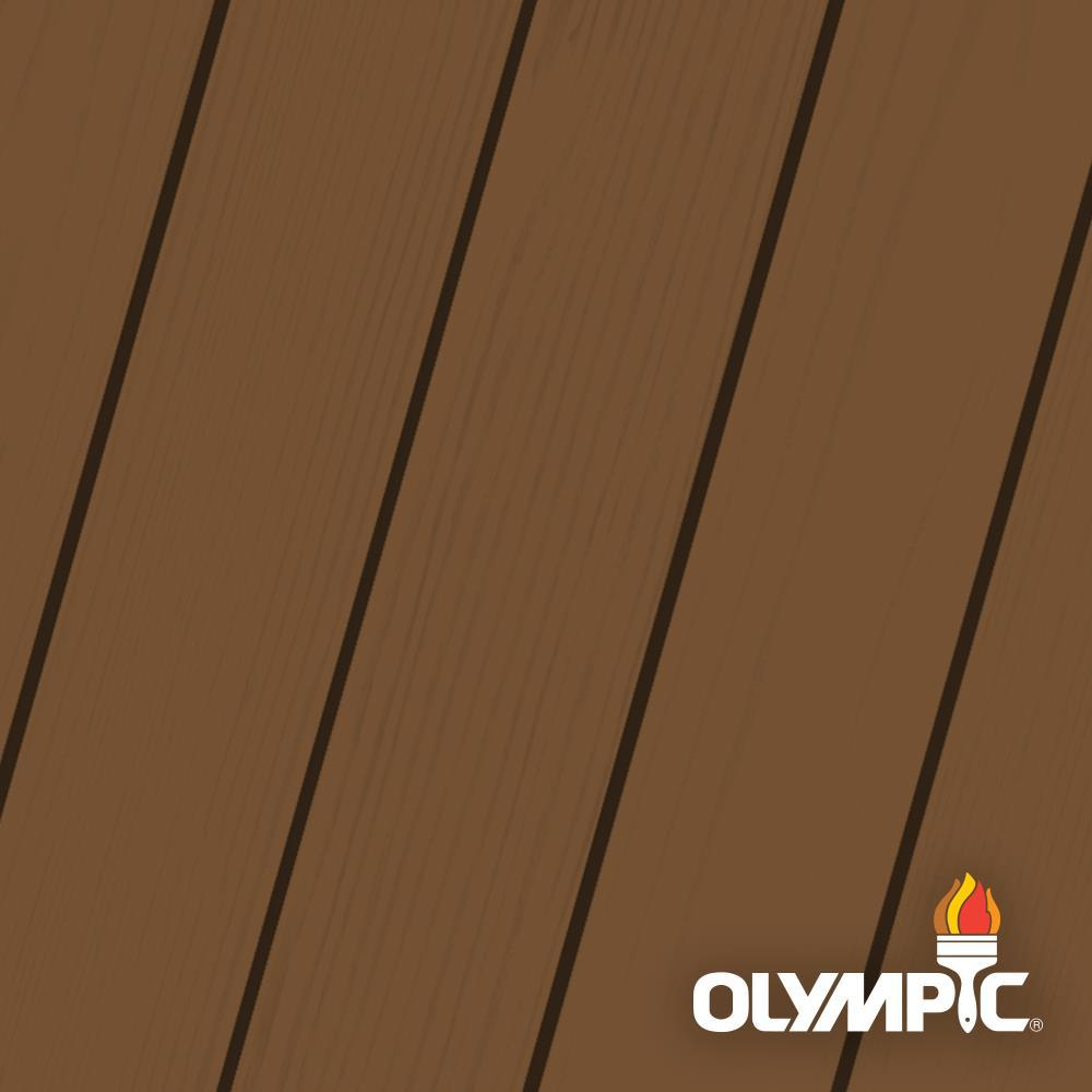 Olympic Elite 3 gal. Chestnut Brown Semi-Transparent Advanced Exterior Stain and Sealant in One Low VOC, Browns/Tans -  OLYESS-3-03