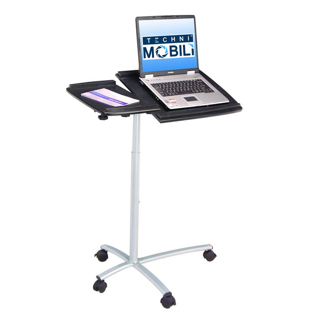 Graphite Sit To Stand Rolling Adjustable Laptop Cart Rta