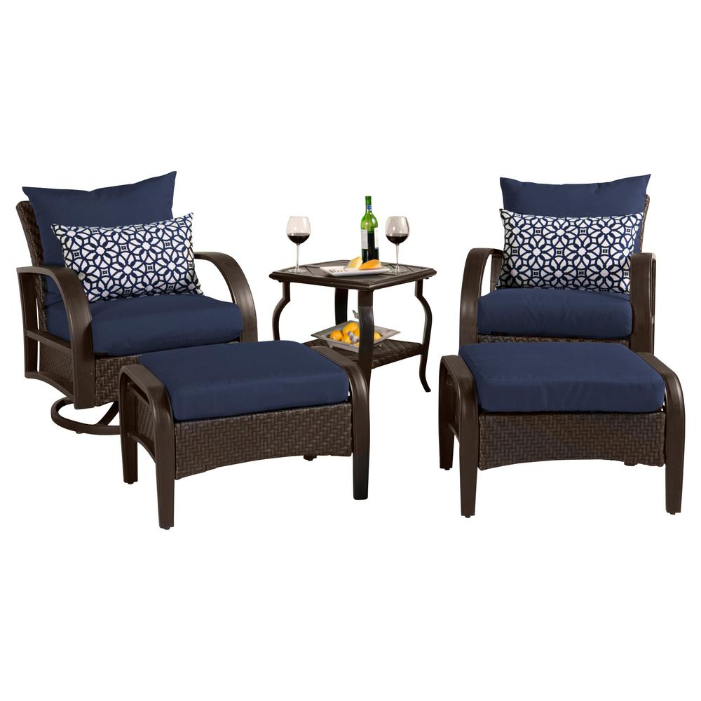 RST Brands Barcelo 5-Piece Motion Wicker Patio Deep Seating Conversation Set with Sunbrella Navy Blue Cushions