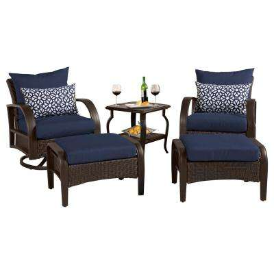 Barcelo 5-Piece Motion Wicker Patio Deep Seating Conversation Set with Sunbrella Navy Blue Cushions