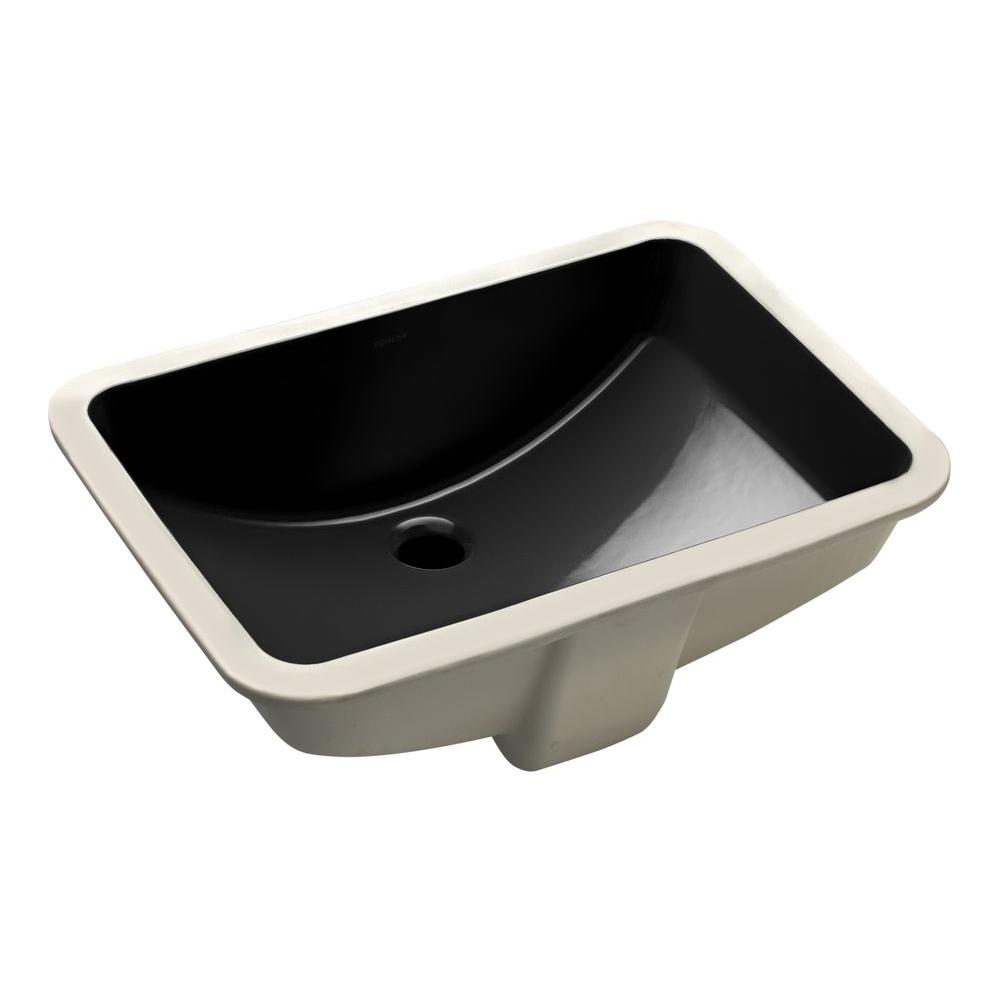 Ladena 20 7/8u0026quot; Undermount Bathroom Sink In Black With Overflow Drain