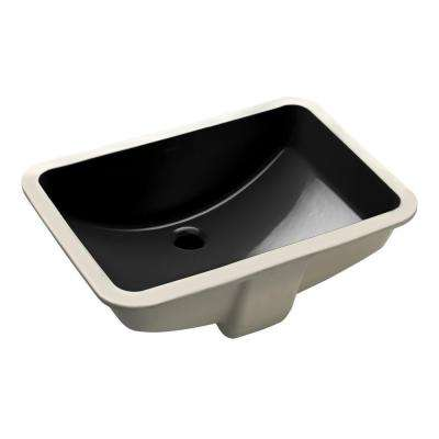 "Ladena 20 7/8"" Undermount Bathroom Sink in Black with Overflow Drain"