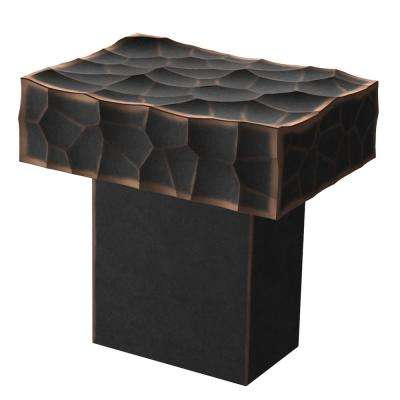Modern Hammered 1 in. (26mm) Bronze with Copper Highlights Rectangular Cabinet Knob