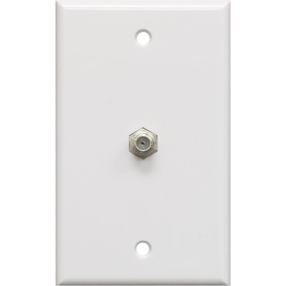 1 Coax Cable Wall Plate - White