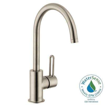 Uno Single Hole 1-Handle High-Arc Bathroom Faucet in Brushed Nickel