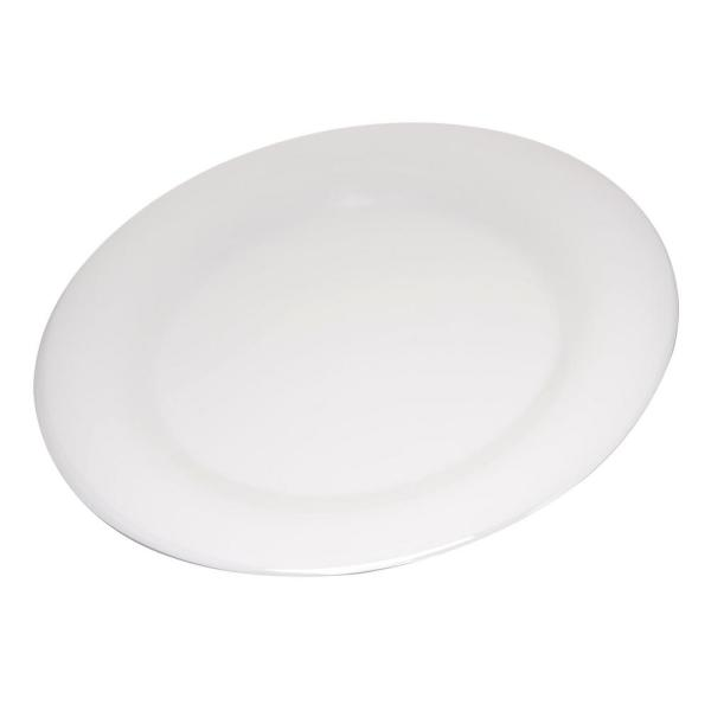 Carlisle Durus 10.5 in. Bone Melamine Wide Rim Dinner Plate (12-Pack)