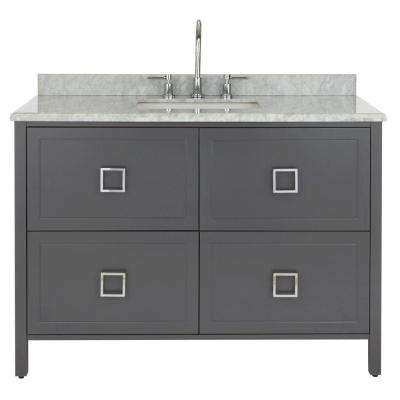 Drexel 48 in. W Vanity in Charcoal with Natural Marble Vanity Top in Natural with White Sink