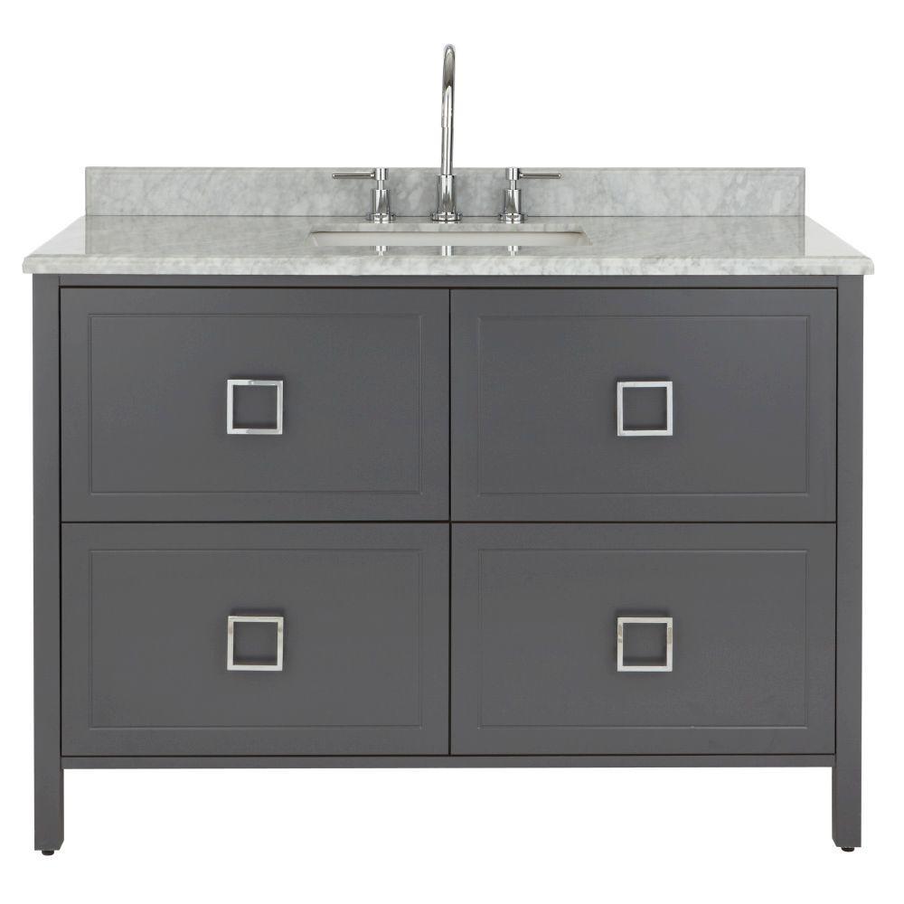 48 In Bathroom Vanity Marble Top Gray Grey Cabinet White Sink Basin Set Modern 887060179712 Ebay
