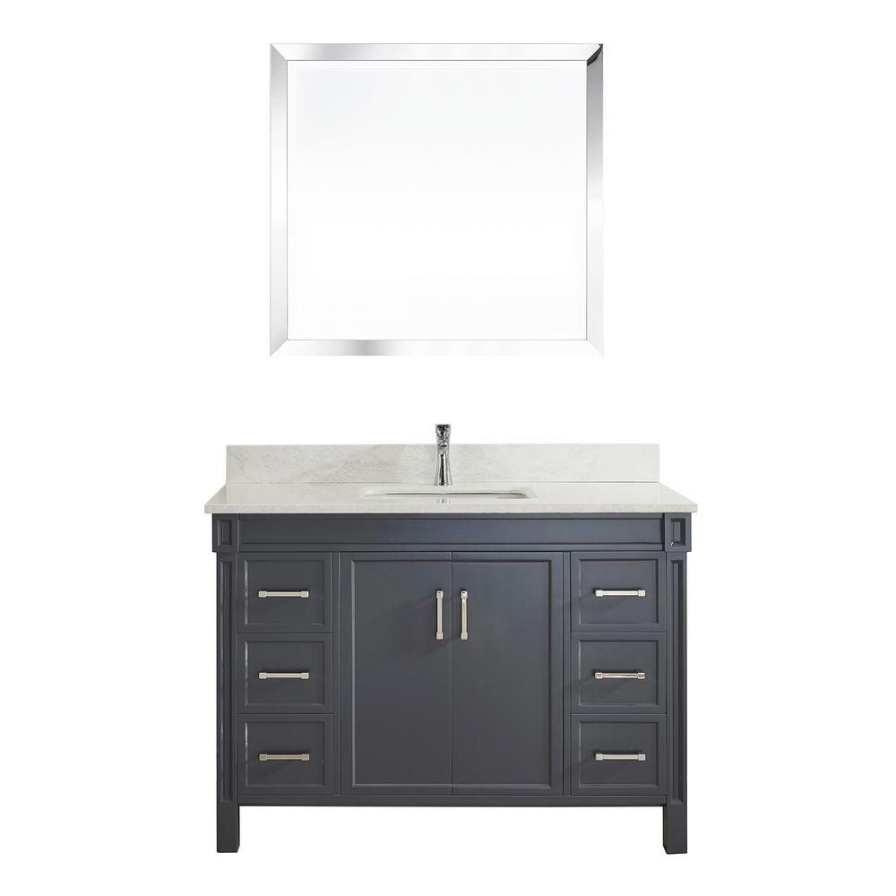 Studio Bathe Serrano 48 in. W x 22 in. D Vanity in Pepper Gray with Thin Engineered Vanity Top in White with White Basin and Mirror