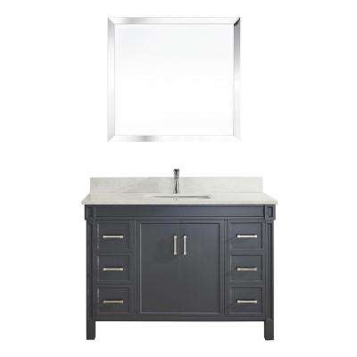 Serrano 48 in. W x 22 in. D Vanity in Pepper Gray with Thin Engineered Vanity Top in White with White Basin and Mirror