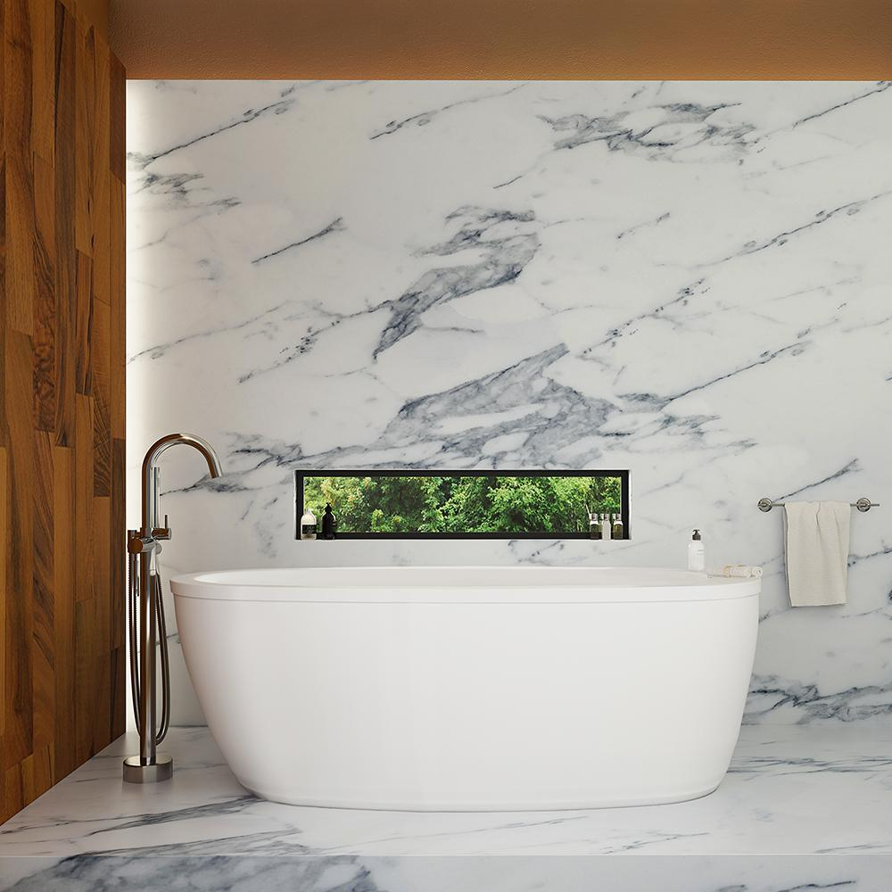 Ove decors leni 66 in acrylic flatbottom freestanding bathtub in white