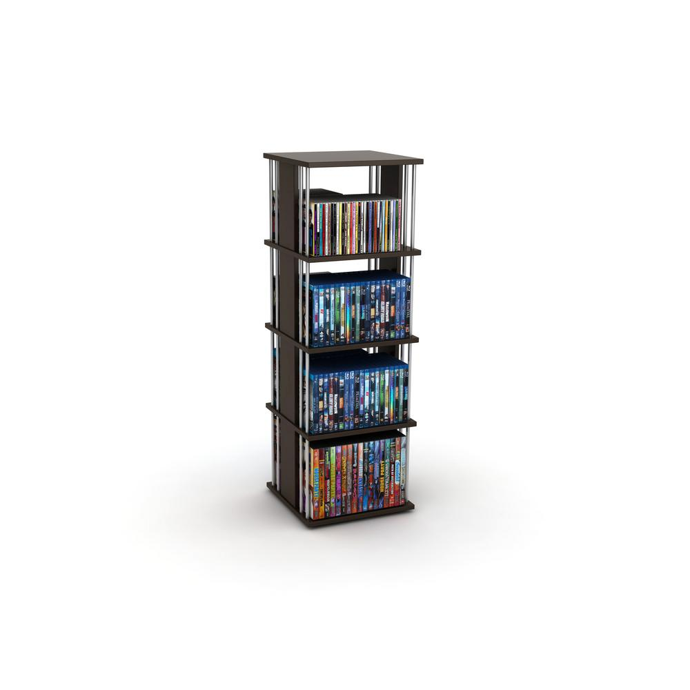 Atlantic Typhoon Espresso (Brown) Media Storage Atlantic, Inc. 82635716 This multimedia unit is designed specifically to hold all media types. Typhoon fully rotates 360° on ball bearing base for smooth operation and easy media access. Stylish design in Espresso with Silver fits all types of decors.