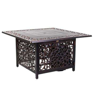 Sedona 42 in. x 24 in. Square Aluminum Propane Fire Pit Table in Antique Bronze