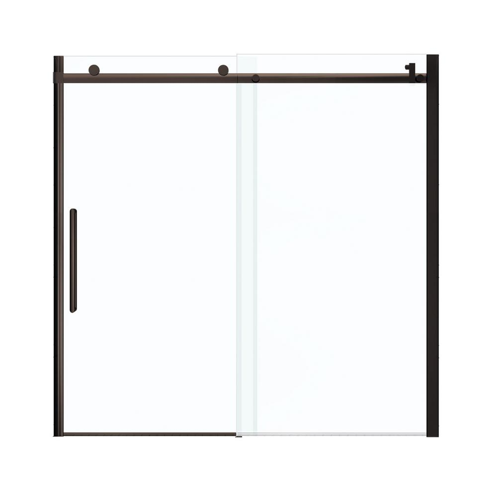 Maax Halo 59 in. x 59 in. Frameless Sliding Tub Door in Brushed ...