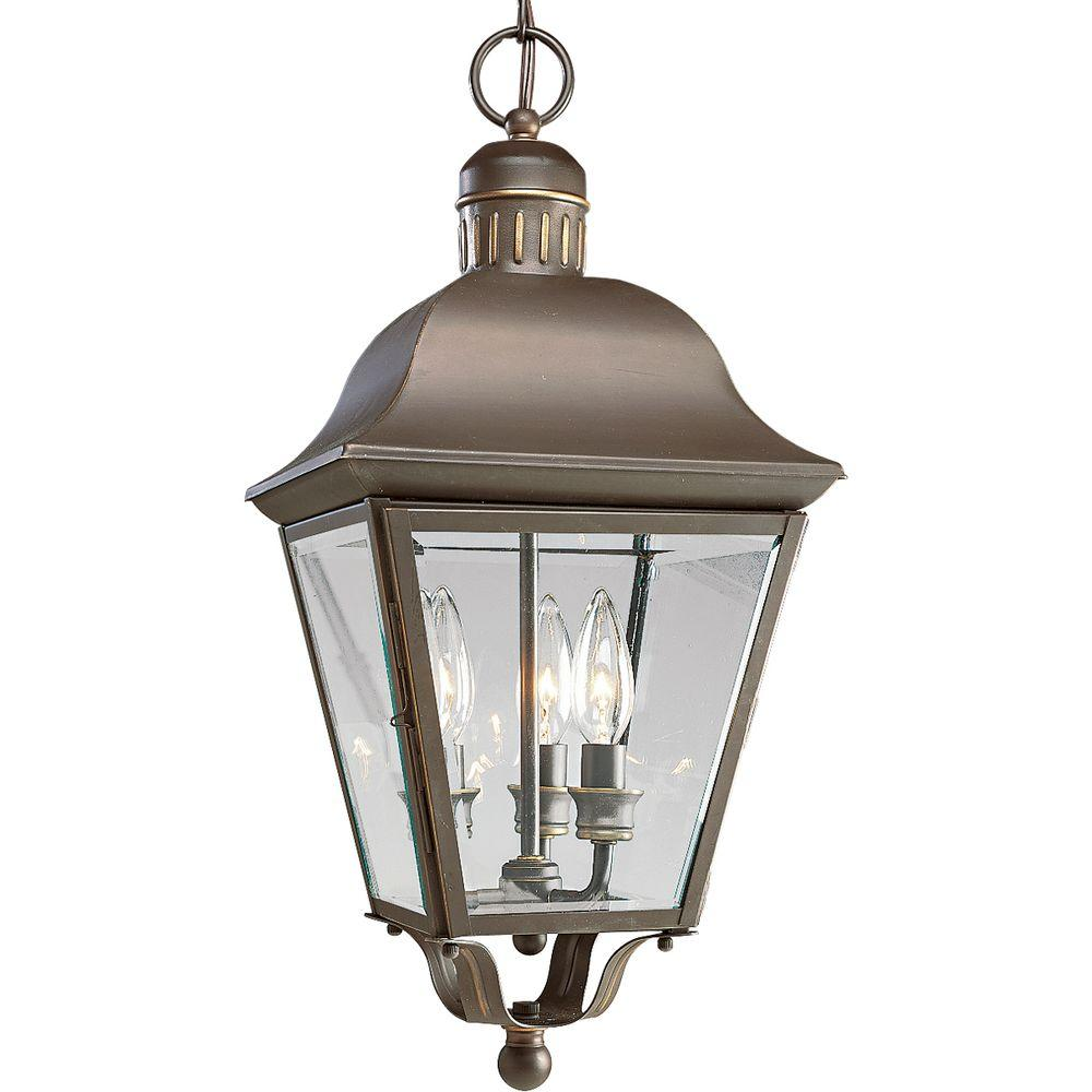 Progress Lighting Andover Collection 3 Light Antique Bronze Outdoor Hanging Lantern