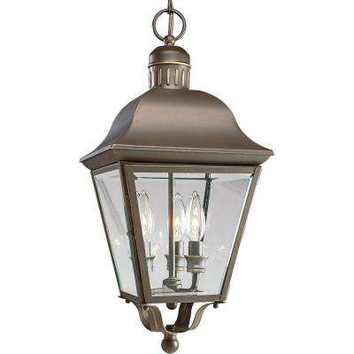 Andover Collection 3-Light Antique Bronze Outdoor Hanging Lantern