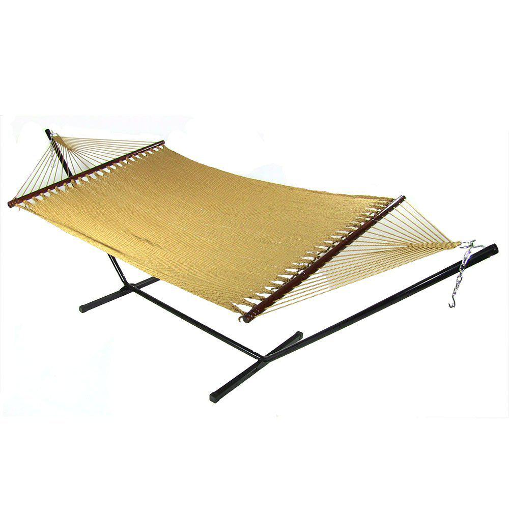 Sunnydaze Decor Large 11 ft. 2-Person Soft-Spun Polyester Rope Hammock with in Tan with Spreader Bar