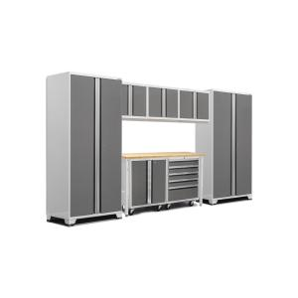 Pro 3.0 83.25 in. H x 156 in. W x 24 in. D 18-Gauge Welded Steel Bamboo Worktop Cabinet Set in Platinum (8-Piece)