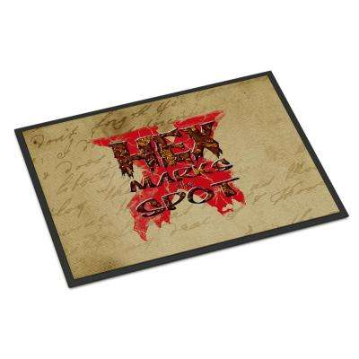 18 in. x 27 in. Indoor/Outdoor Hex Marks The Spot Halloween Door Mat