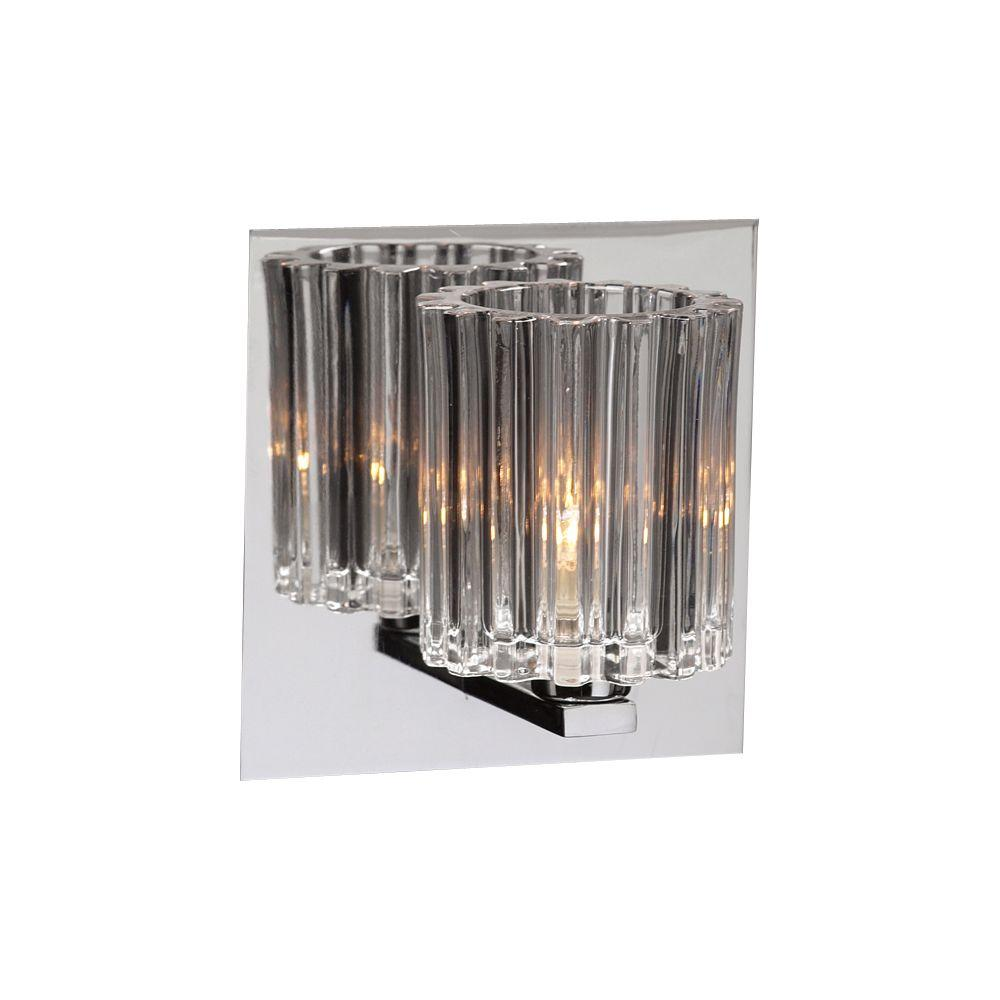 PLC Lighting 1-Light Polished Chrome Bath Vanity Light with Clear Glass