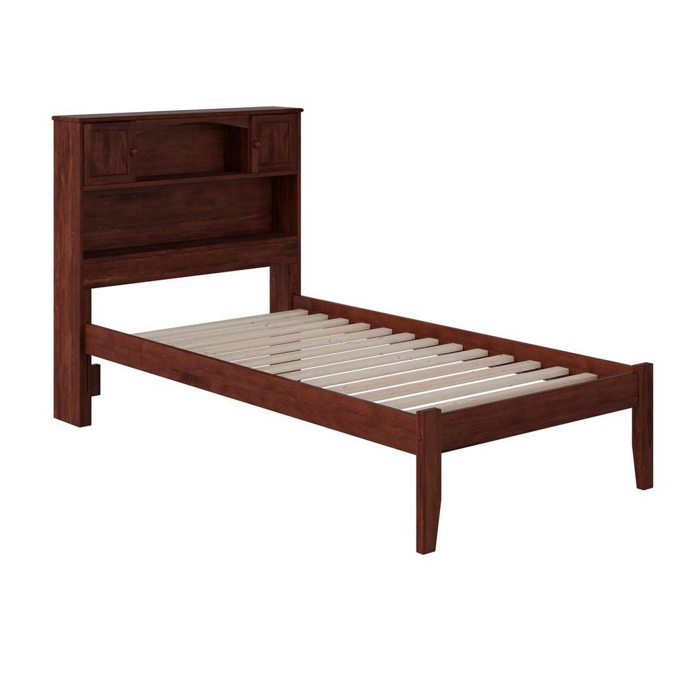 Newport Walnut Twin XL Platform Bed with Open Foot Board