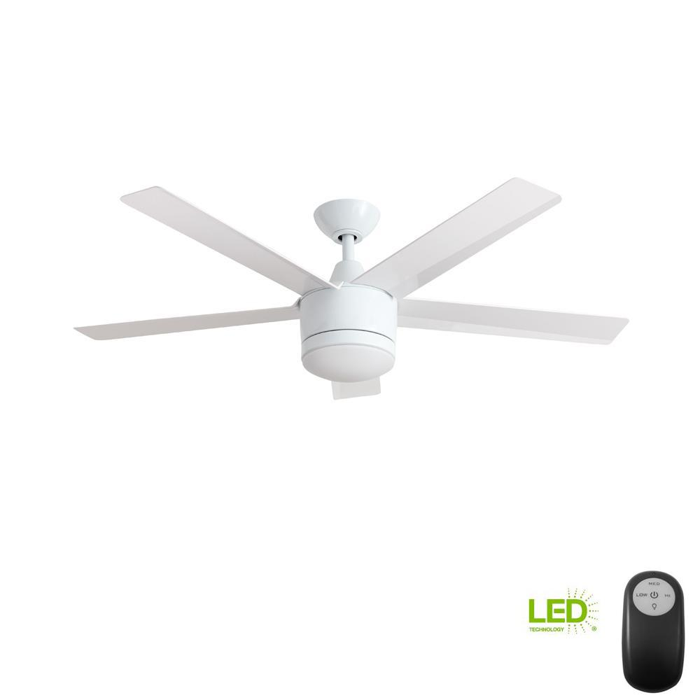 White Low Profile 42 Ceiling Fan Wiring Diagram Model Home Decorators Collection Merwry 52 In Integrated Led Indoor With Light Kit And Remote Control
