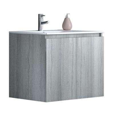 24 in. W x 18 in. D x 20 in. H Floating Wall Mount Bath Vanity in Rock Oak with Vanity Top in White with White Basin