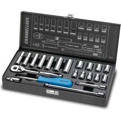 1/4 in. Drive SAE Standard Socket Set (21-Piece)