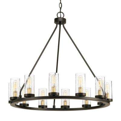 Hartwell 26.63 in. 12-Light Antique Bronze Chandelier with Clear Seeded Glass and Natural Brass Accents
