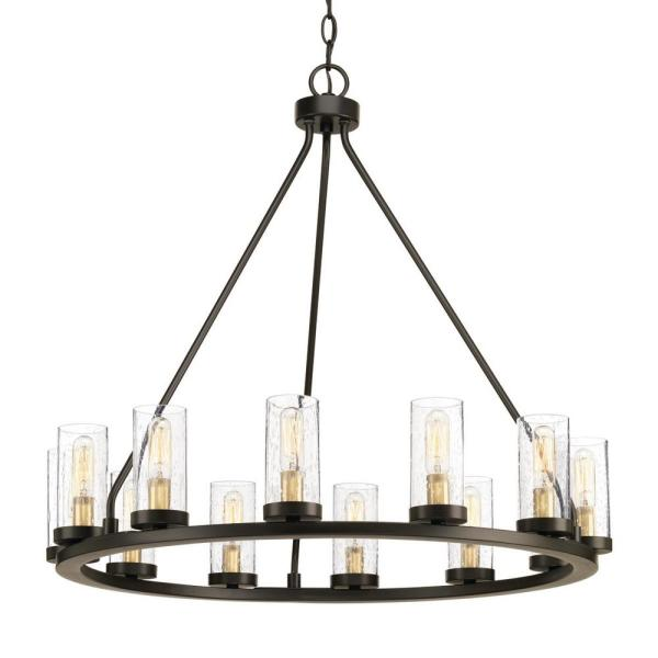Progress Lighting Hartwell 26 63 In 12 Light Antique Bronze Dining Room Chandelier With Clear Seeded Glass And Natural Brass Accents P400126 020 The Home Depot