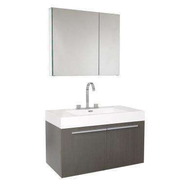 Vista 36 in. Vanity in Gray Oak with Acrylic Vanity Top in White with White Basin and Mirrored Medicine Cabinet