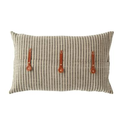 Black and Beige Striped Cotton Ticking with Leather Accents 20 in. x 12 in. Throw Pillow