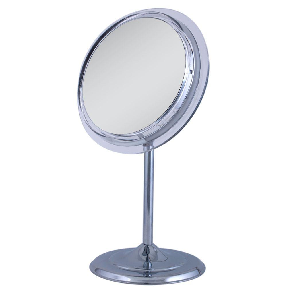Zadro 9.5 in. W x 16 in. H Surround Light Adjustable Pedestal Vanity Mirror in Chrome