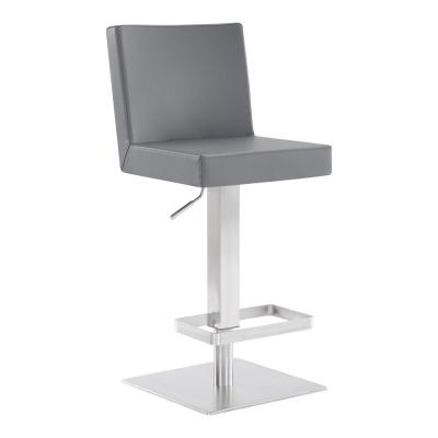 Cleaon Contemporary Adjustable 35-43.5 in. Swivel Barstool in Brushed Stainless Steel and Grey Faux Leather