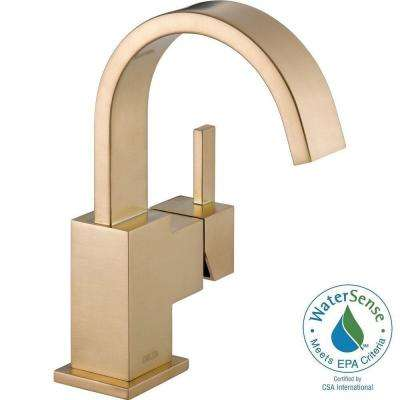 Vero Single Hole Single-Handle Bathroom Faucet with Metal Drain Assembly in Champagne Bronze