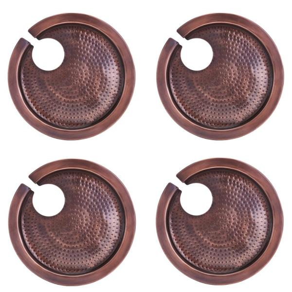 Hammered Antique Copper Buffet Plates with Wine Glass Holder (Set of 4)