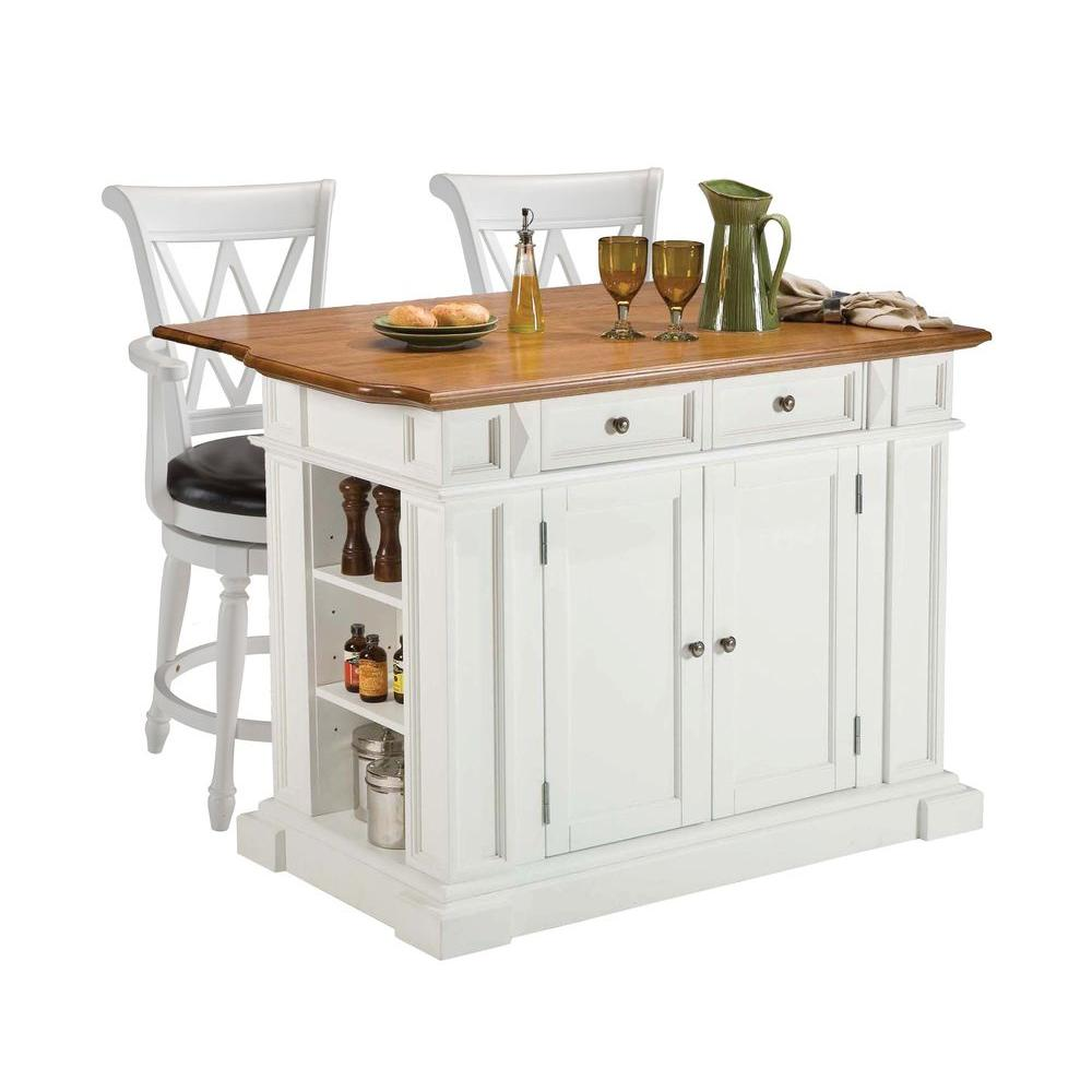 Home Styles Traditions Distressed Oak Drop Leaf Kitchen Island in White with Seating-DISCONTINUED