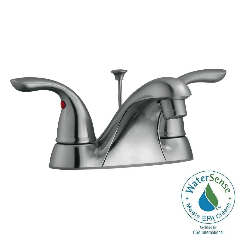 Ashland 4 in. Centerset 2-Handle Bathroom Faucet in Satin Nickel