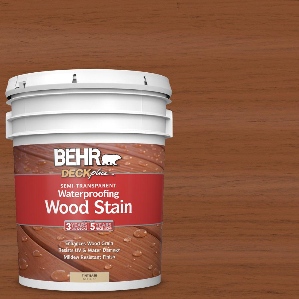 Behr Deckplus 5 Gal Natural Clear Transparent: BEHR DECKplus 5 Gal. #ST-122 Redwood Naturaltone Semi