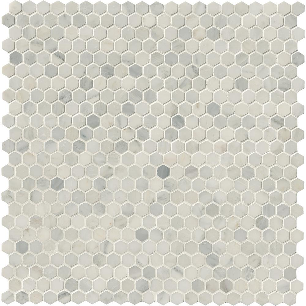 MSI Greecian White Hexagon 12 in. x 12 in. x 10mm Honed Marble Mesh-Mounted Mosaic Tile (8.9 sq. ft. / case)