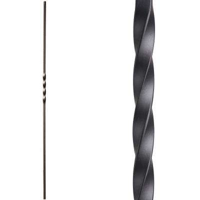 Twist and Basket 44 in. x 0.5 in. Satin Black Single Twist Hollow Wrought Iron Baluster