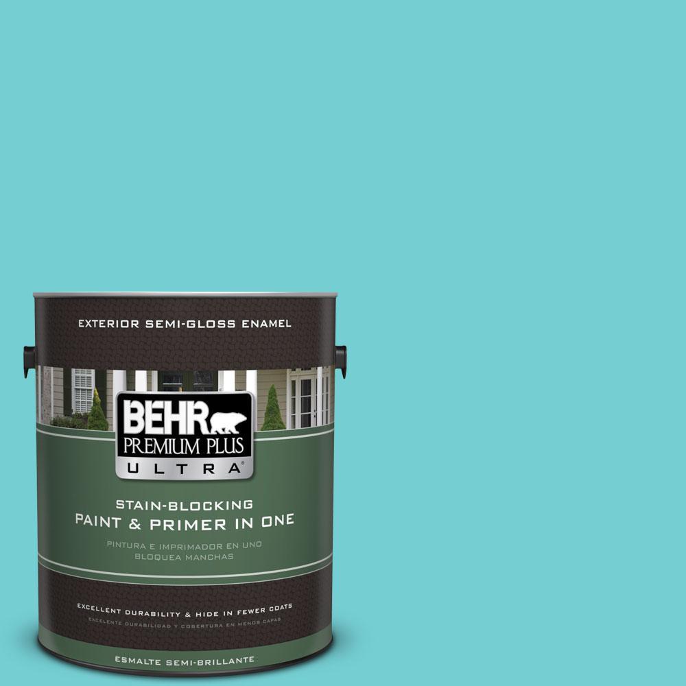 BEHR Premium Plus Ultra 1-gal. #P460-3 Soft Turquoise Semi-Gloss Enamel Exterior Paint