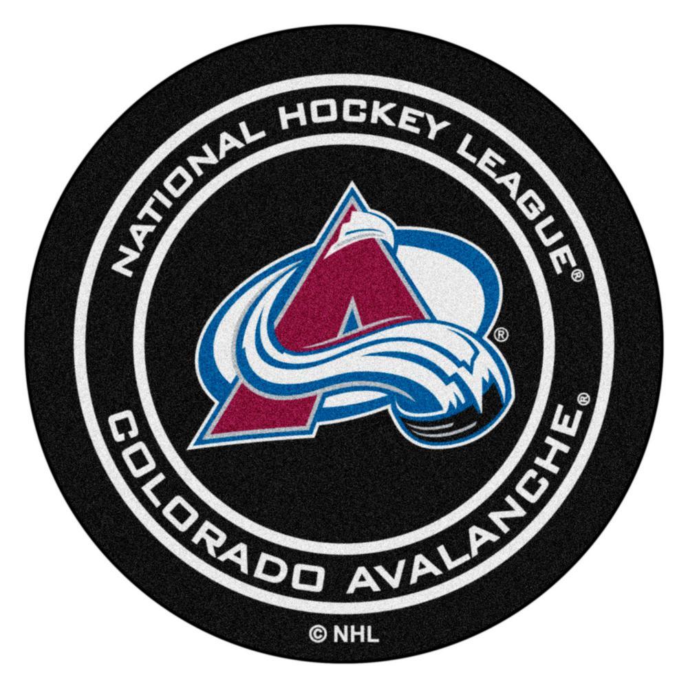 Colorado Avalanche Black 27 in. Round Hockey Puck Mat