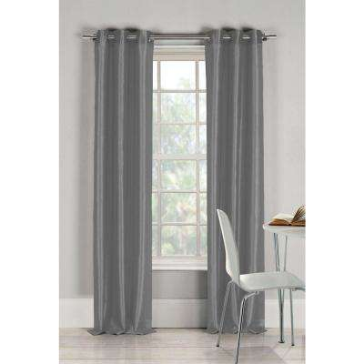 Semi-Opaque Bali 84 in. L Faux Silk Panel in Silver (2-Pack)