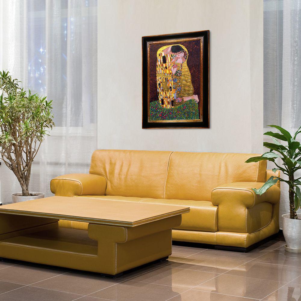 "45 in. x 33 in. ""The Kiss (Luxury Line) with Opulent Frame "" by Gustav Klimt Framed Wall Art"