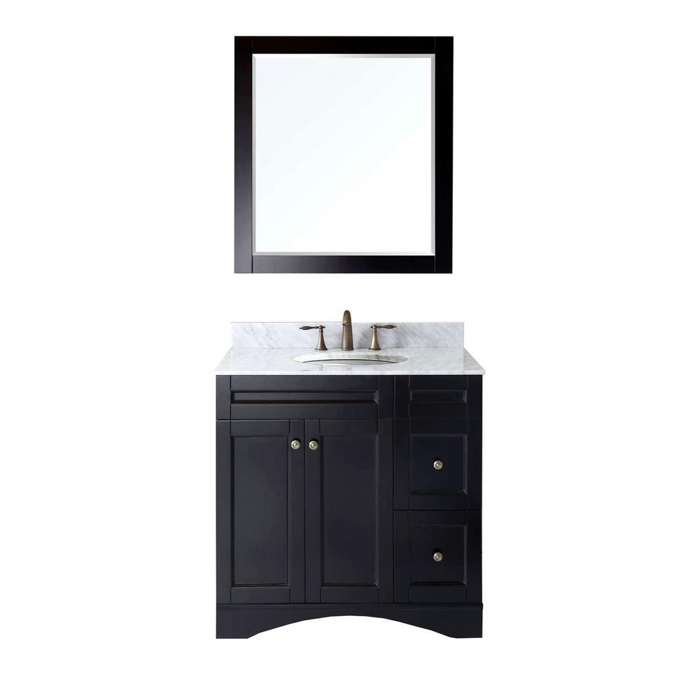Virtu USA Elise 36 in. W Bath Vanity in Espresso with Marble Vanity Top in White with Round Basin and Mirror