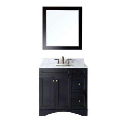 Elise 36 in. W Bath Vanity in Espresso with Marble Vanity Top in White with Round Basin and Mirror