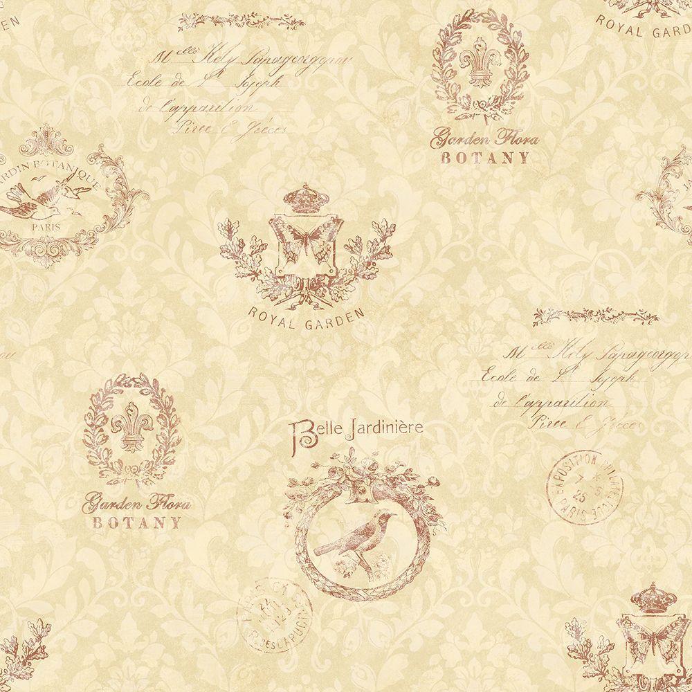 Chesapeake Belle Jardin Dark Red Block Print Wallpaper CCB02173 ...